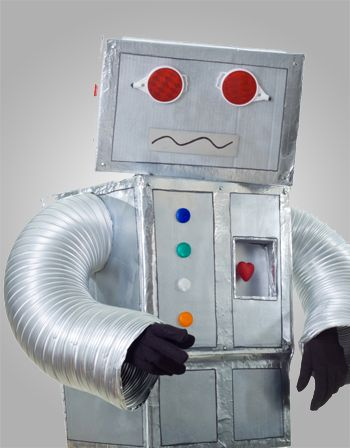 robot de carton y tubo